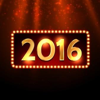 Dourado feliz novo ano de 2016 de fundo