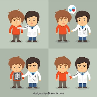 Doutor e paciente caracteres