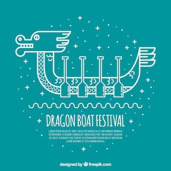 Dragão, bote, dia, fundo, linear, estilo