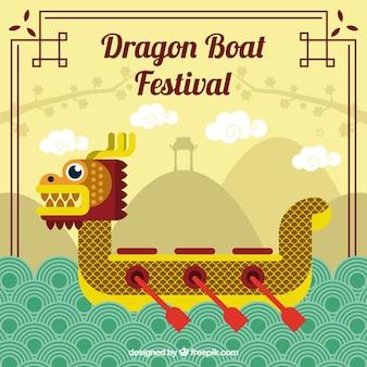 Dragão, bote, festival, dourado, fundo