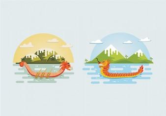 Dragão, bote, festival, fundo, cobrança
