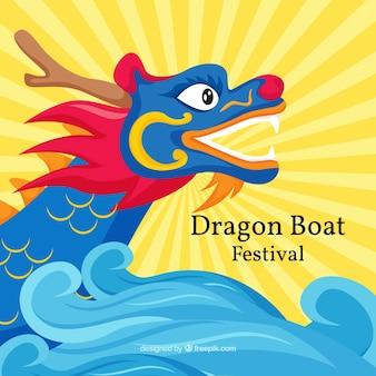 Dragão, bote, festival, fundo