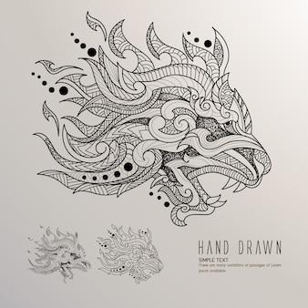 Dragão, cabeça, mão, desenhado