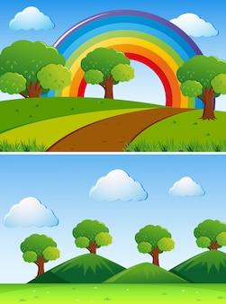 Duas cenas com árvores verdes no campo