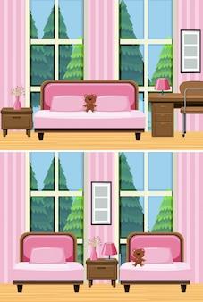 Duas cenas de sala de estar com sofá-de-rosa