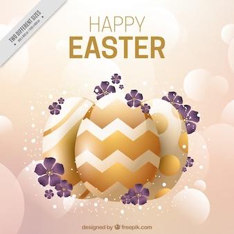 Easter fundo borrado com elementos dourados