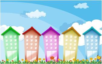 Edifícios altos coloridos