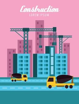 Edifícios e guindastes. conceito de construção. elementos de design planos. ilustração vetorial