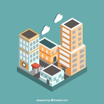 Edifícios, Nuvens, isometric, estilo
