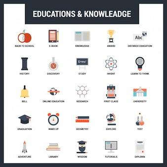 Educação Plano Icons Set