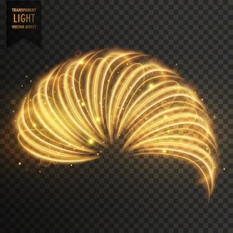 Efeito da luz transoarent ouro de meio anel