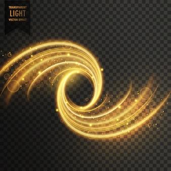 Efeito de luz brilho transparente na cor dourada
