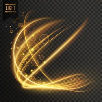 Efeito de luz dourada transparente fundo sparkling