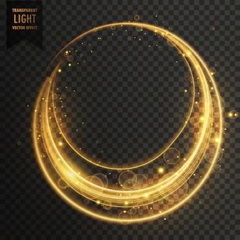 Efeito de luz transparente circular com sparkles