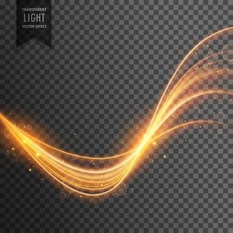 Efeito de luz transparente na cor do ouro