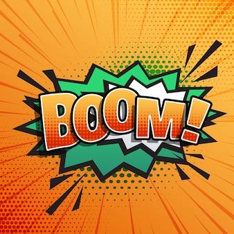 Efeito de texto sonoro em quadrinhos do boom na arte do estilo pop