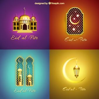Eid al-fitr coleção de fundo brilhante