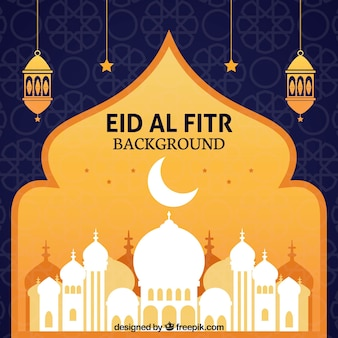 Eid al fitr fundo com mesquita branca