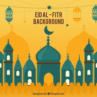 Eid al fitr fundo com mesquita