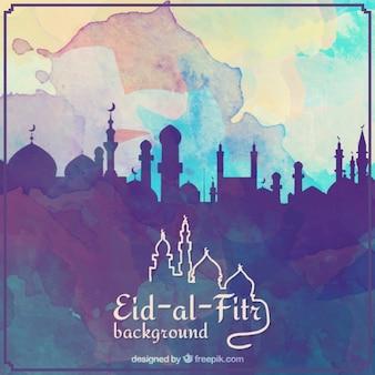 Eid Aquarela al fundo fitr com a silhueta