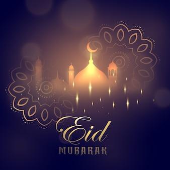 Eid, mubarak, cartão, desenho, incandescência, mesquita, mandala, decoração