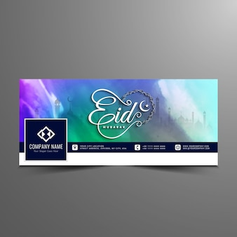 Eid mubarak colorido design da linha do tempo de facebook