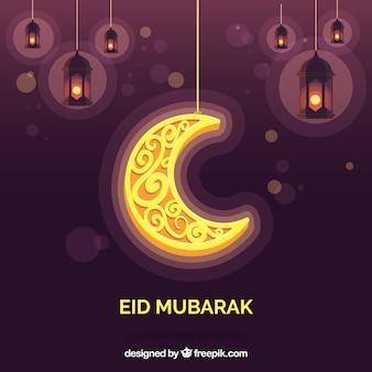 Eid mubarak, decorativo, dourado, lua, fundo