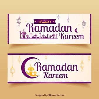 Elegante bandeiras de ramadan kareen