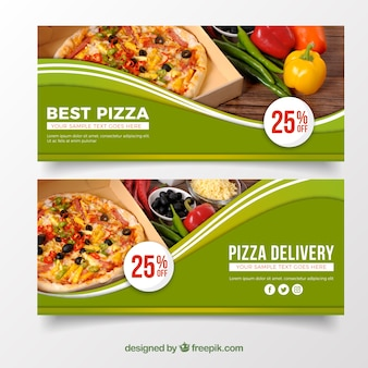 Elegante banner de pizza