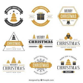 Elegante coleção de crachás de feliz natal