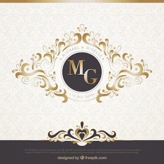 Elegante convite de casamento preto e ouro