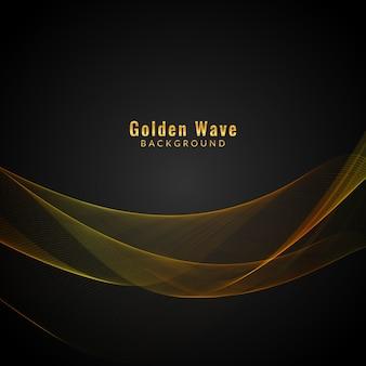 Elegante, dourado, onda, fundo