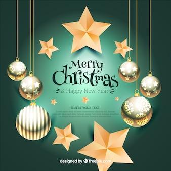 Elegante fundo de natal com bolas decorativas e estrelas