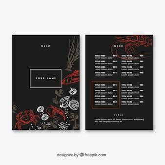 Elegante menu de restaurante com desenhos