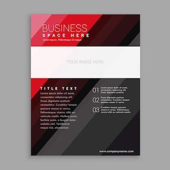 Elegante modelo de design de folheto de folheto de negócios vermelho e preto