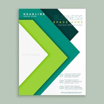 Elegante modelo de design folheto do negócio estilo de seta verde