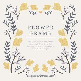 Elegante moldura floral com design plano