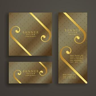 Elegante padrão dourado bandeira cartão convite conjunto