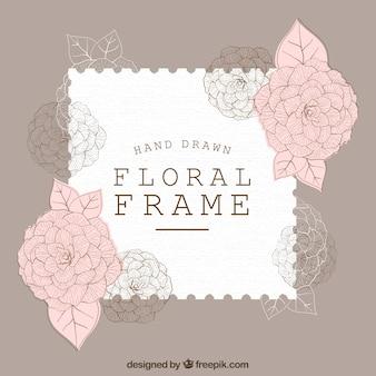 Elegante quadro floral com estilo desenhado à mão