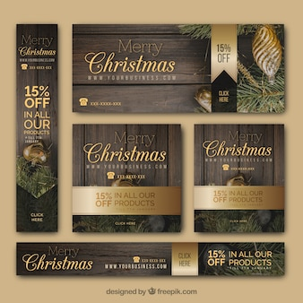 Elegante variedade de banners de natal