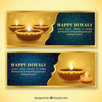 Elegantes banners dourados de diwali
