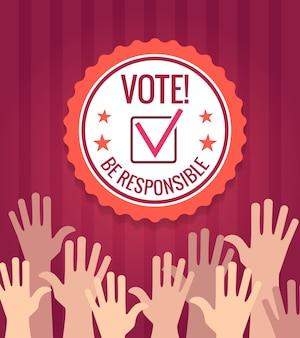 Eleições fundo com as mãos