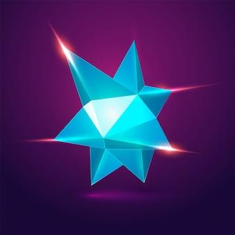 Elemento geométrico de polígono baixo brilhante 3D.