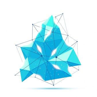Elemento poligonal azul abstrato com flare de lente.