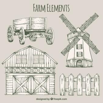 Elementos agrícolas esboços e celeiro