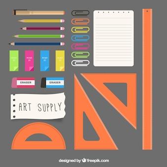 Elementos artísticos em design plano