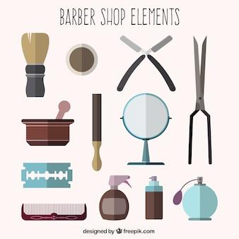 elementos barbearia em design plano