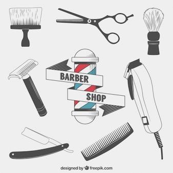 Elementos barbeiro desenhados mão