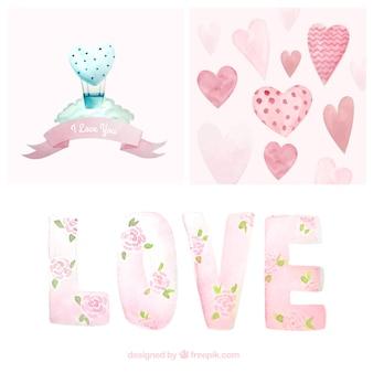 Elementos bonita da aguarela pacote valentine