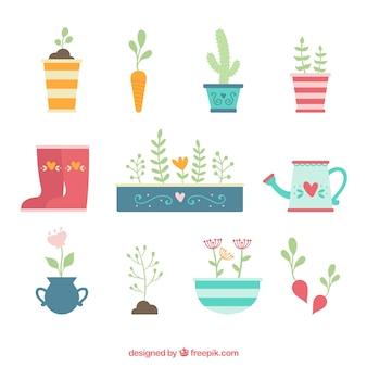Elementos bonitos de jardinagem